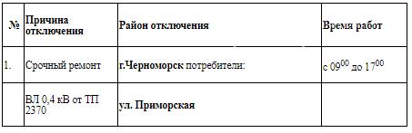 Плановое отключение электроэнергии в Черноморске 30 июня, фото-1
