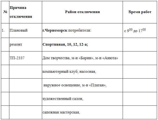 Плановое отключение электроэнергии в Черноморске 16 августа, фото-1