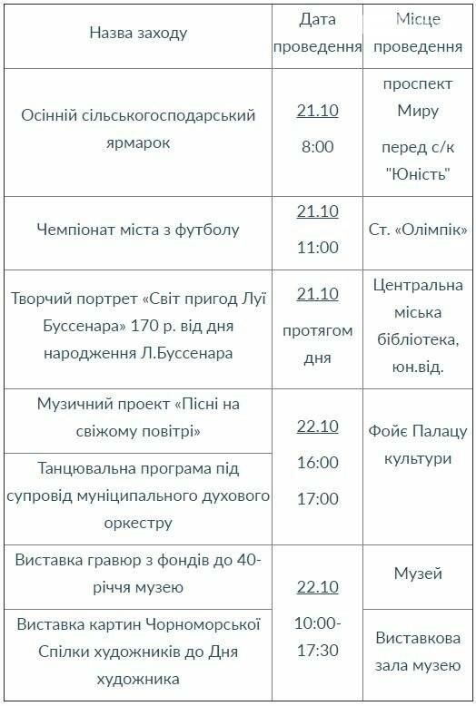 План мероприятий на выходные дни 21 - 22 октября 2017 года в городе Черноморске, фото-1
