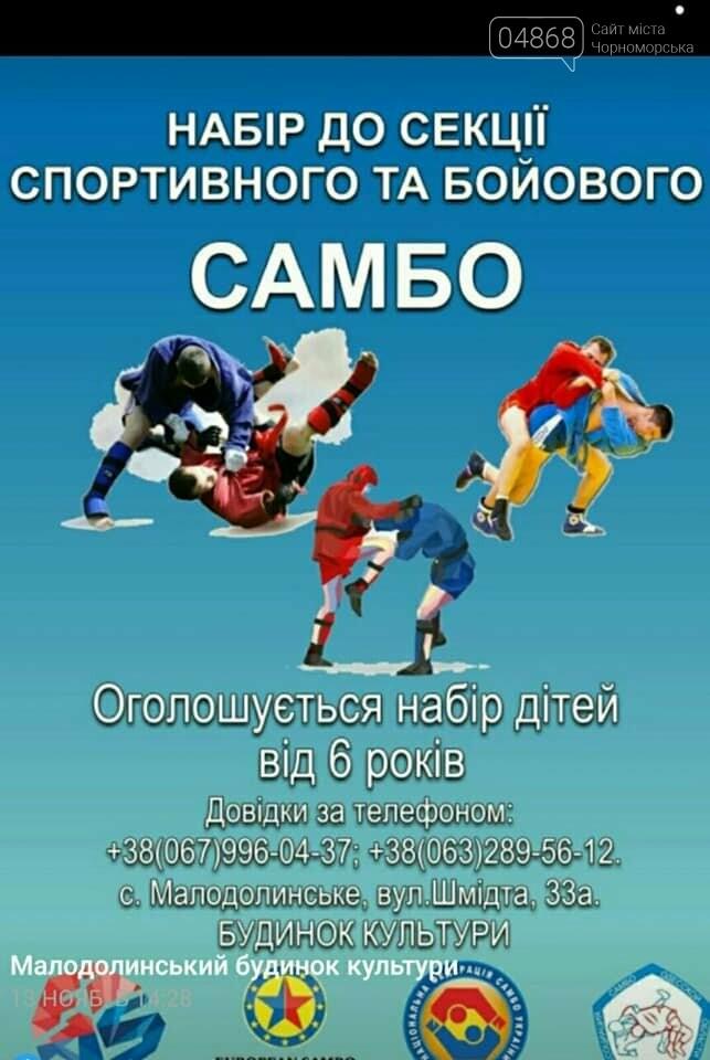 Развитие спорта в Черноморске: в Малодолинском открылась секция по самбо, фото-1