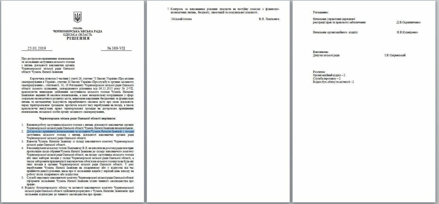 Мэр города подписал решения сессии об увольнении двух замов и секретаря горсовета Черноморска, фото-3